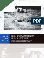 El Rol de Los Altos Mandos en Los Falsos Positivos, Colombia
