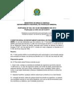 Portaria No 542 Em 18-12-2014 Do Diretor Geral Do Dnpm