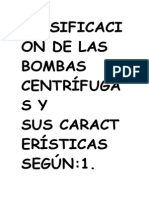 Clasificación de Las Bombas Centrífugas y Sus