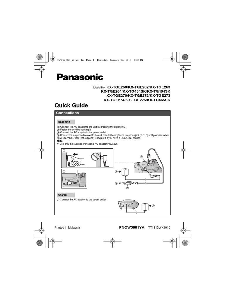 Genuine PANASONIC KX-TGE270 S MAIN BASE STATION KX-TGE274 no ac adapter