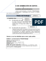Ejercicio de Grabación de Datos - Estilos Personalizados