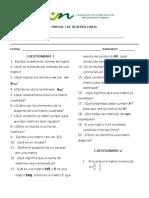 Cuestionario 1 de Álgebra Lineal...