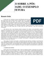 Ortiz, Renato. Reflexões Sobre a Pósmodernidade - o Exemplo Da Arquitetura