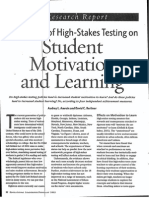 the effects of high-stakes testing on student motivation and learning