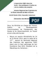 Session Ministre Declaration Les Approches HIMO Dans Les Infrastructures 1