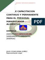 Plan de Capacitación en Manipulación de Alimentos.