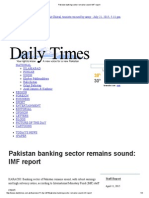 Pakistan Banking Sector Remains Sound_ IMF Report