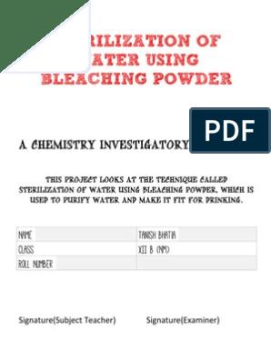 CBSE Chemistry Project - Sterilization of Water Using