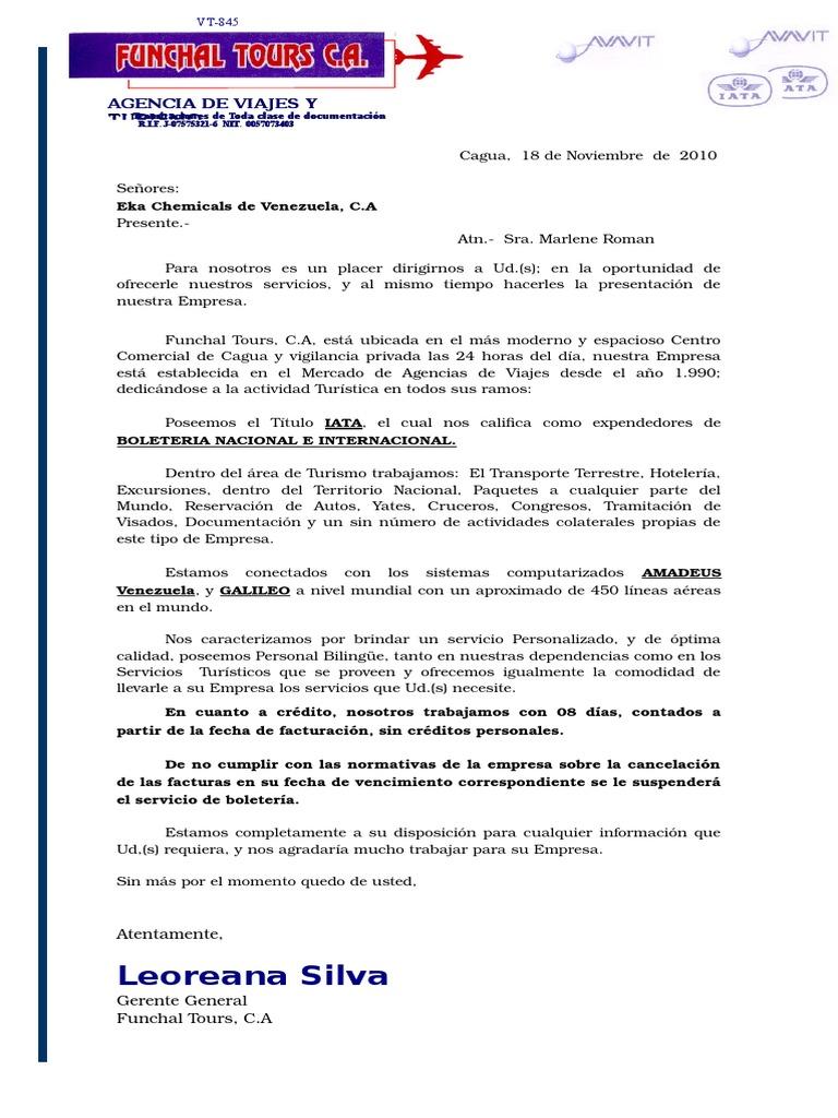 Carta de Presentación de agencia de viajes