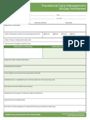 Transitional Care Management 30 Day Worksheet | Medical ...