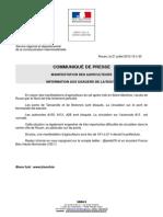 Communique de presse de la préfecture de Seine-Maritime sur les manifestations d'éleveurs