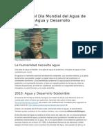 El Tema Del Día Mundial Del Agua de 2015 Es