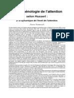 Phénoménologie de l'Attention Selon Husserl