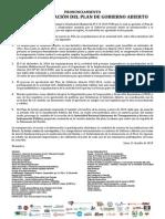 Pronunciamiento Sociedad Civil Ante la aprobación del Plan de Gobierno Abierto 2015-2016