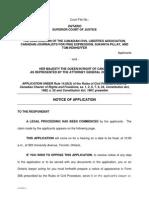 Document juridique de la contestation de la Loi C-51