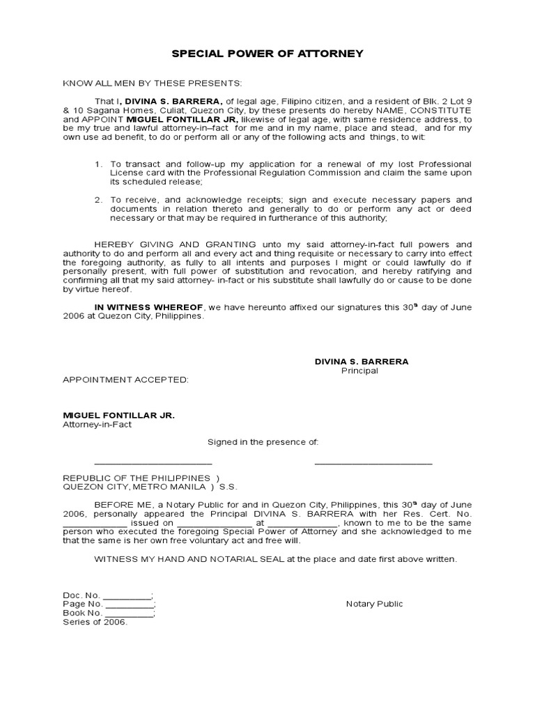 Spa Prc Doc Power Of Attorney Notary Public