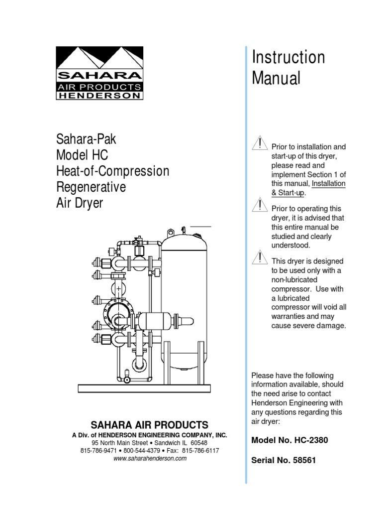 58561 Hc 2380 Air Dryer Instruction Manual Valve Clothes Dryer