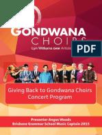 Giving Back to Gondwana Concert Program