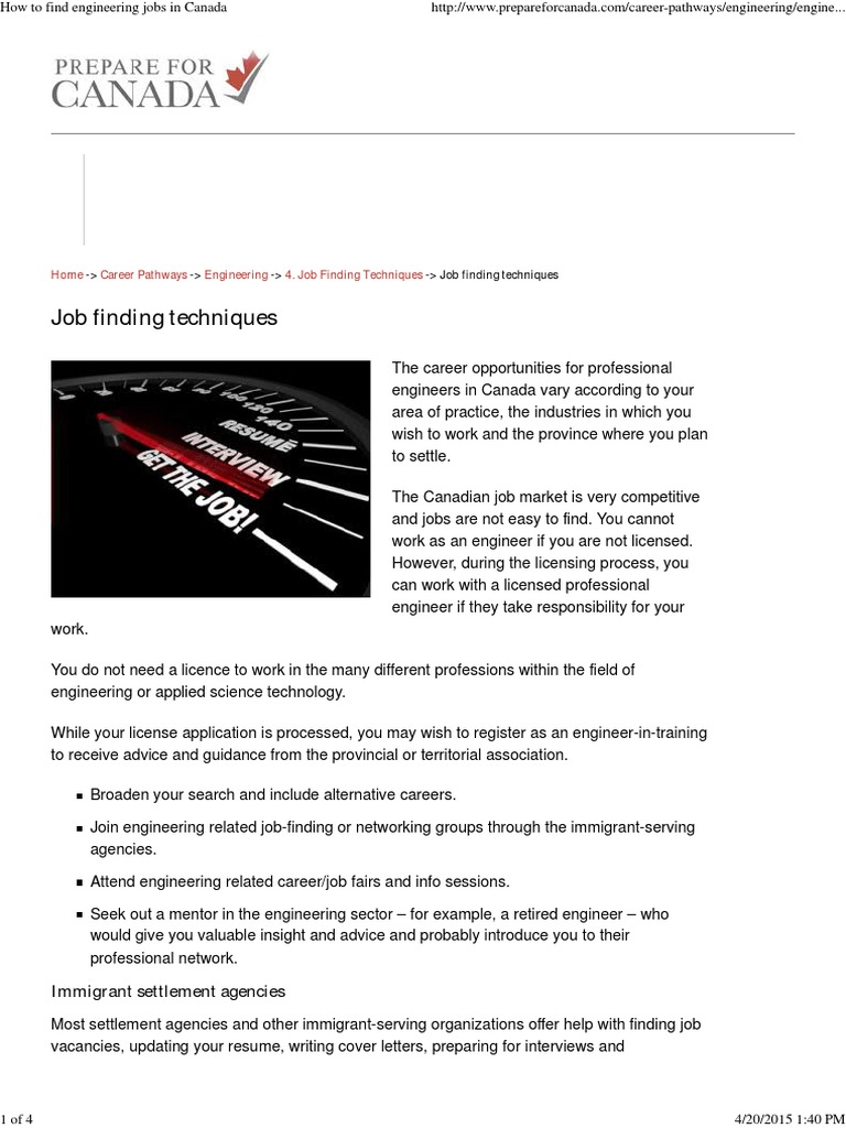How To Find Engineering Jobs In Canada Engineer Resume