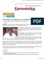 Karnataka Assembly Passes Land Reforms Bill