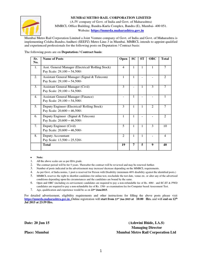 Mmrcl Advt. Phase- II | Mumbai | Test (Assessment)