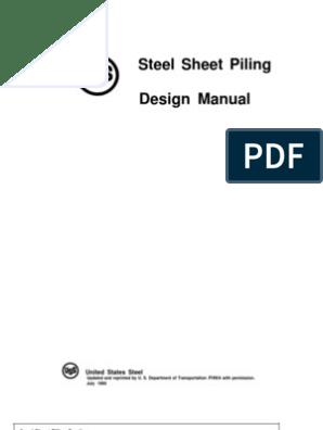 Steel Sheet Piling Design Manual | Soil Mechanics | Deep Foundation
