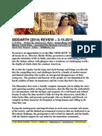 Siddarth Film Review by Raymond C. Reed - FuTurXTV & Global Media Village - 3-15-2015