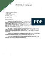 Miami Beckham United Letter to Mayor Regalado