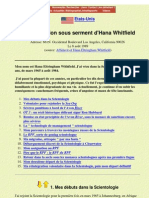 Secte Scientologie - Declaration Sous Serment d'Hana Whitfield