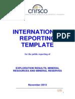 Crirsco (2013) International Reporting Template
