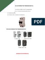 Caracteristicas de Un Interruptor Termomagnetico