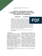 Student's Attitudes Tw Internet Advertising Study