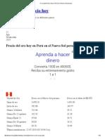 Oro y Plata Precio Hoy en Perú en El Nuevo Sol Peruano