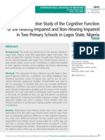 A Comparative Study of the Cognitive Function of the Hearing-Impaired and Non-Hearing Impaired in Two Primary Schools in Lagos State, Nigeria