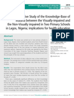 A Descriptive Study of the Knowledge-Base of Malaria between the Visually-impaired and the Non-Visually impaired in Two Primary Schools in Lagos, Nigeria; implications for health education