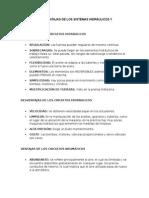 Ventajas y Desventajas de Los Sistemas Hidráulicos y Neumáticos