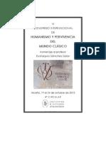 IV Circular del VI Congreso Internacional de Humanismo y Pervivencia del Mundo Clásico. Homenaje al Prof. Eustaquio Sánchez Salor
