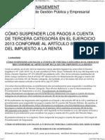 CÓMO SUSPENDER LOS PAGOS A CUENTA DE TERCERA CATEGORÍA EN EL EJERCICIO 2013 CONFORME AL ARTÍCULO 85° DE LA LEY DEL IMPUESTO A LA RENTA _ BIOMATRIX MANAGEMENT
