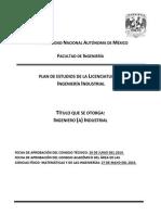 PLAN DE ESTUDIOS  2016  INGENIERIA INDUSTRIAL