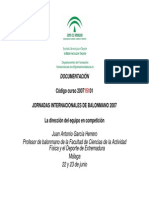 Dirección Del Equipo en Competición. Juan Antonio Garcia Herrero