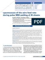 Optimisation of the Wire Feed Rate in GMAW-P of Aluminium Sheet