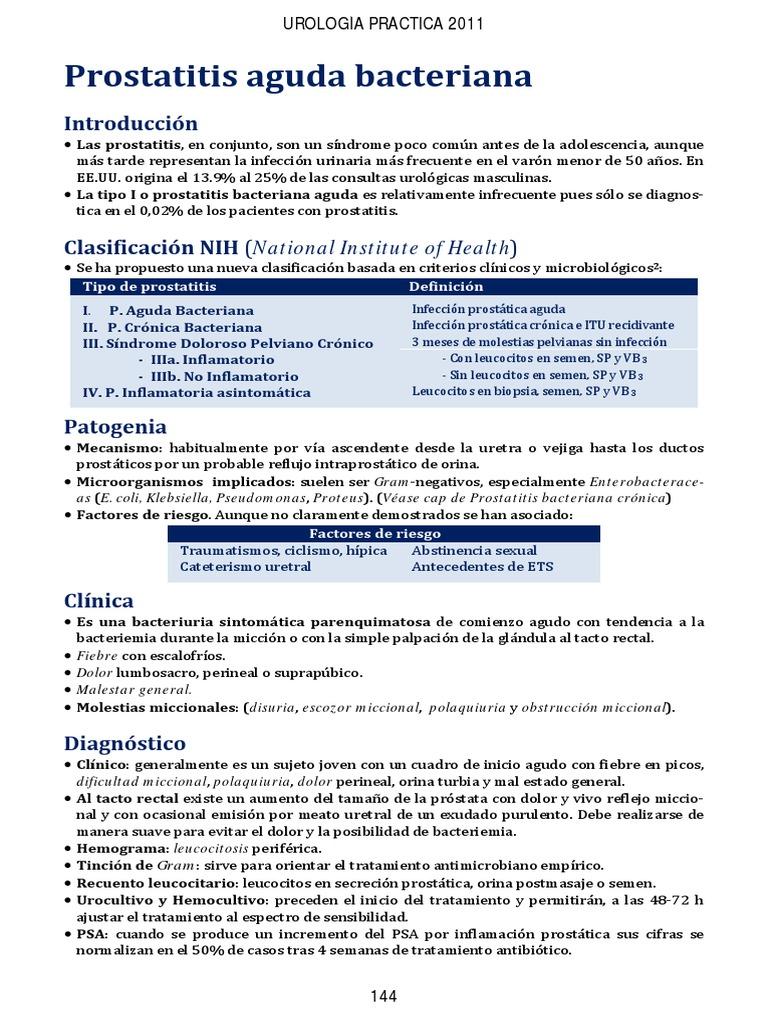 caso clínico de paciente con prostatitis