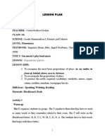 0 Lesson Plan Prepositions of Place