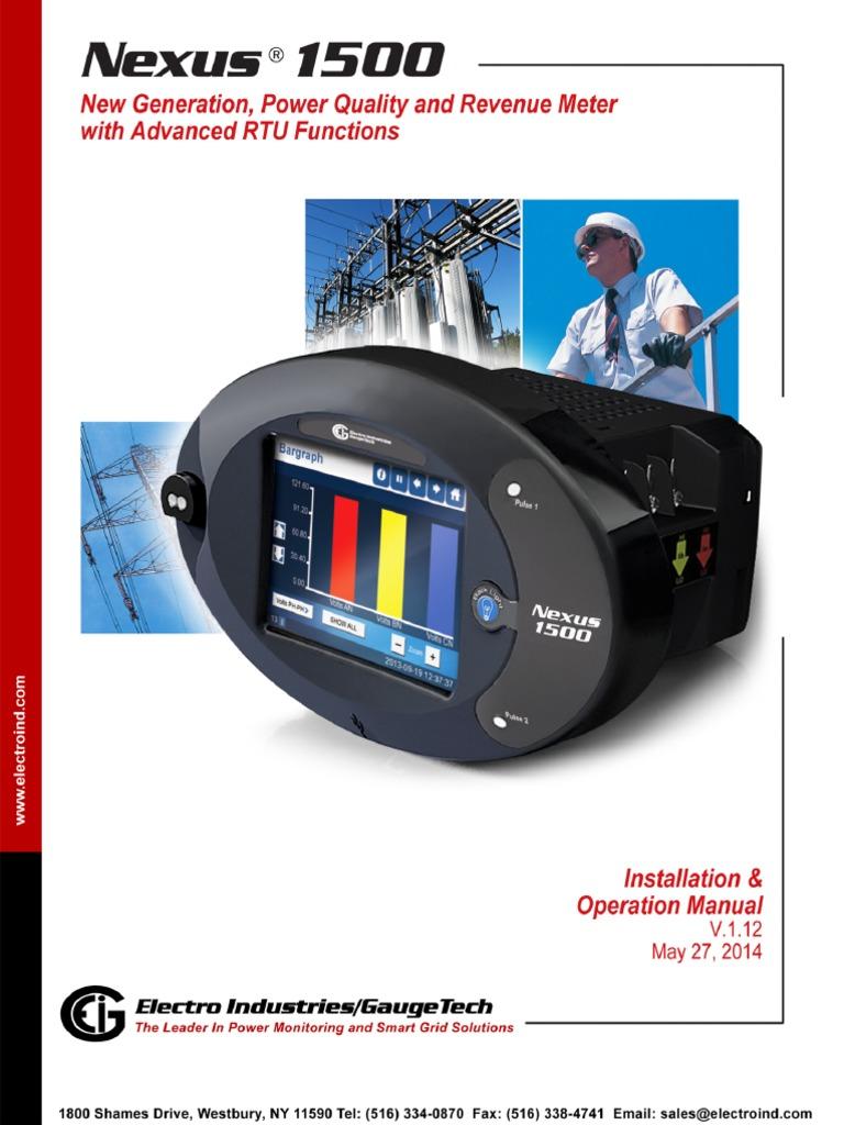 Nexus 1500 Transient Recording Power Quality Revenue Meter User Manual  v.1.12_E154701   Kilowatt Hour   Ac Power
