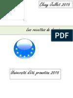 Les Recettes de Demain - Convention Des Jeunes Citoyens Européens 2015