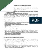 Cours 5 La Compliance Therapeutique