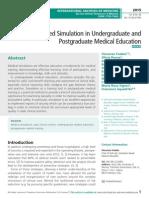 Role of Advanced Simulation in Undergraduate and Postgraduate Medical Education