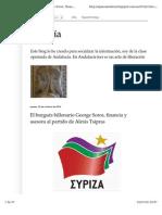 El Burgués Billonario George Soros, Financia y Asesora Al Partido de Alexis Tsipras