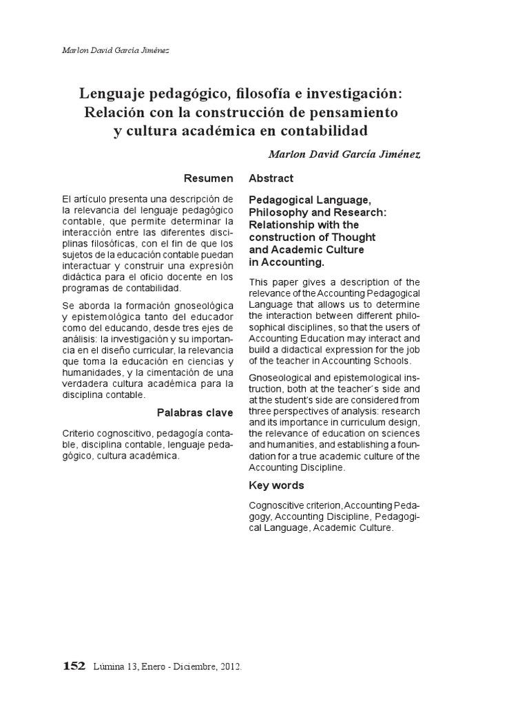 Lenguaje pedagógico, filosofía e investigación: Relación con la ...