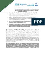 Comunicado de Prensa Final Interagencial Dia Prevencion Embarazo Adolescente Sept 2014